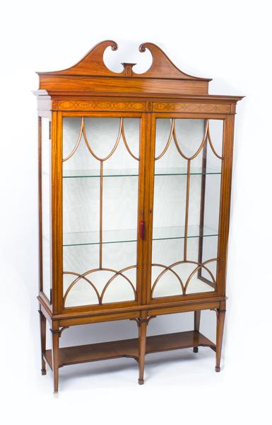 Antique Edwardian Satinwood Display Cabinet C.1900