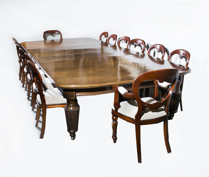 Antique Extending Dining Table 14 Chairs C1880