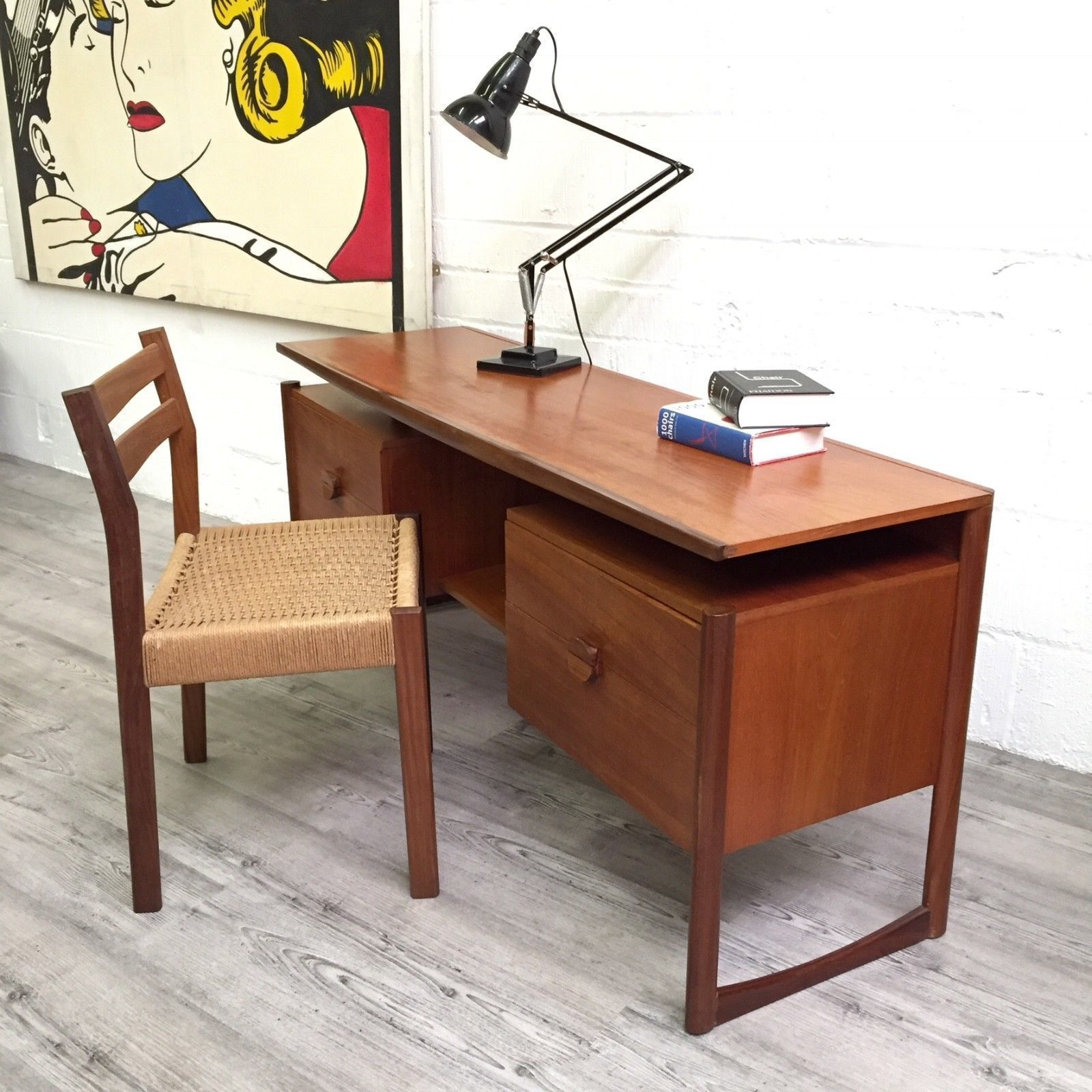 Danish Designed Teak Desk Floating Top