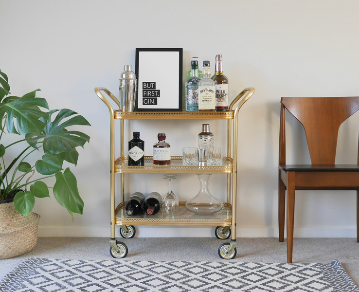 Vintage Gold Bar Cart Drinks Trolley With Marble Trays