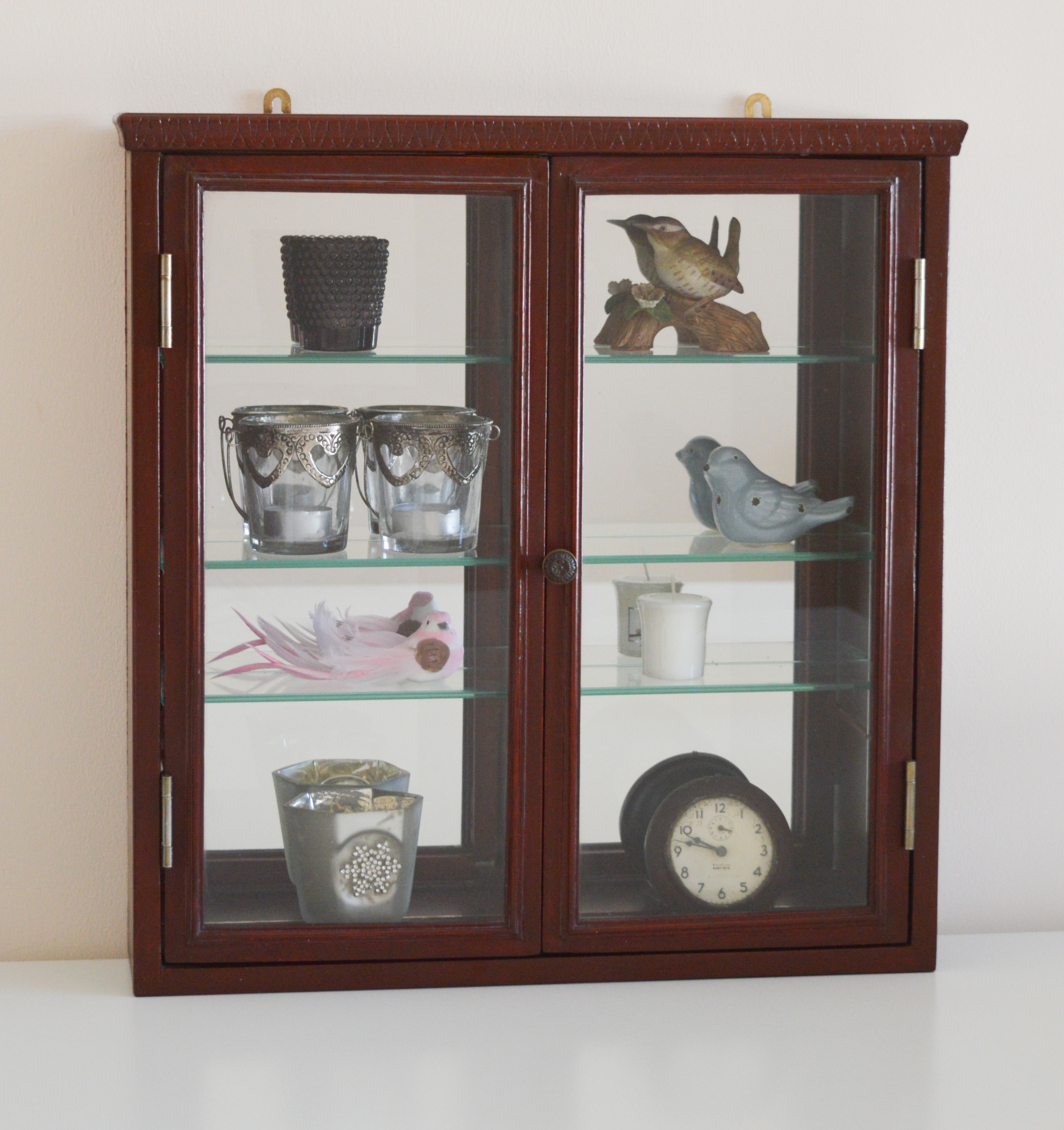 Vintage Wall Cabinet With Glass Doors And Backed Mirror ...