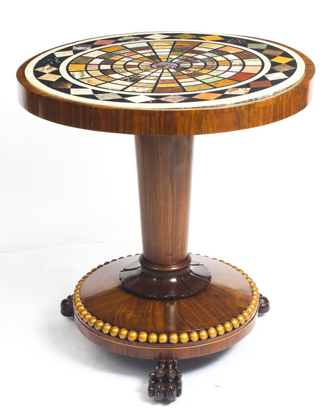 Pietra Dura Marble Top Occasional Table