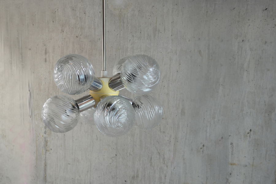 Amazing 1970's French 'Sputnik' 8 Shade Ceiling Lamp