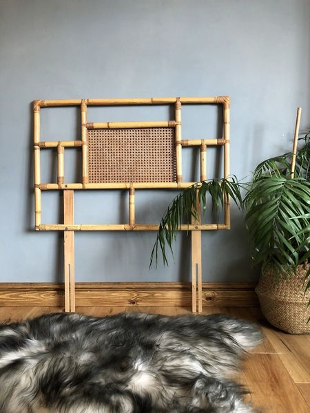 Bamboo Mid Century Cane Rattan Headboard Single Bed Vintage Boho Chic