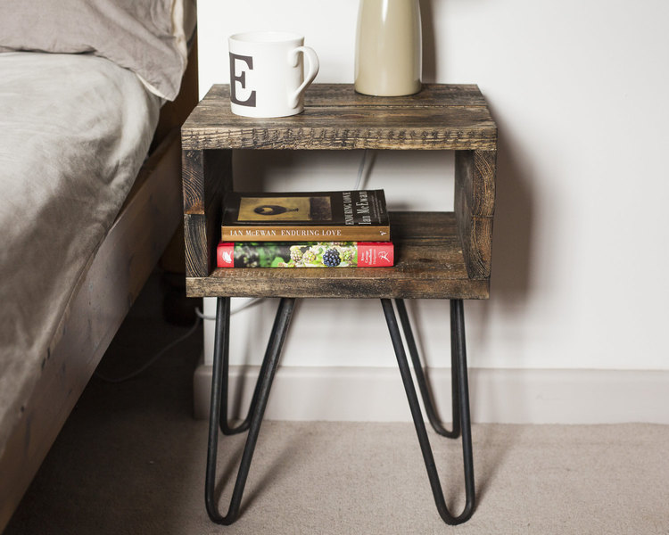 hot sale online f4316 f307c Bedside Table Industrial Nightstand With Hairpin Legs