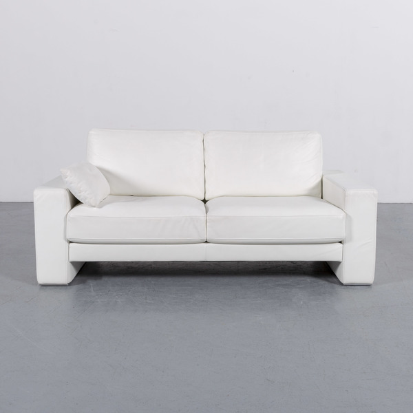 Rolf Benz Ego Leather Sofa White Two Seater Couch Genuine Leather