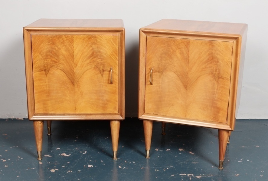 A Pair Of 1950's Italian Bedside Cupboards In Walnut