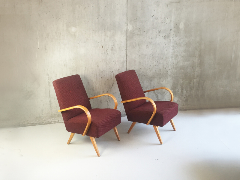 A Pair Of Czech 1960's Club Chairs By Jindrich Halabala For Zadovy