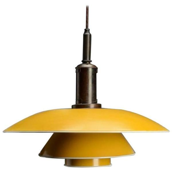 Poul Henningsen. Ph 4½ 4 Pendant Lamp With Shade Yellow Painted Metal, 1940s