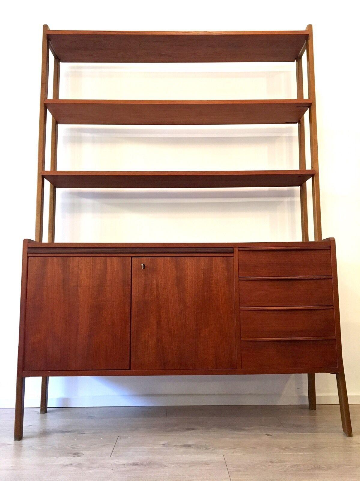 Mid Century Danish Teak Room Divider Wall Unit Desk Shelving Unit 1960 S
