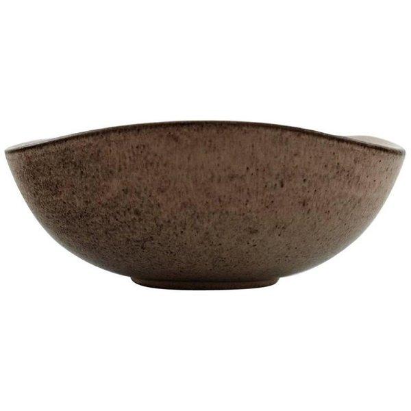 Helge østerberg Ceramic Bowl In Speckled Glaze, Interior In Dark Blue