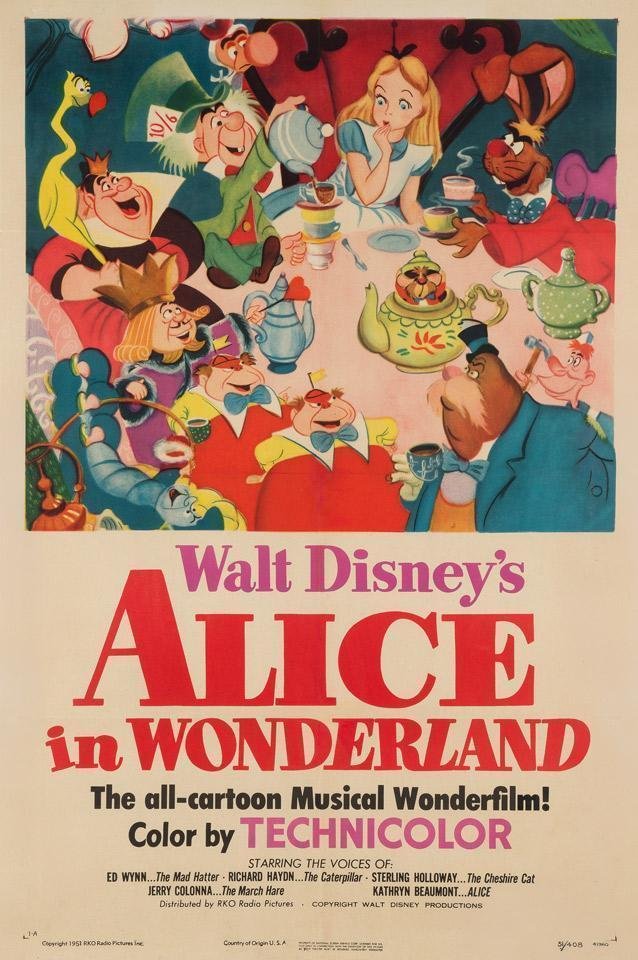 Alice In Wonderland 1951 Us Film Movie Poster Original Vintage Disney Vinterior
