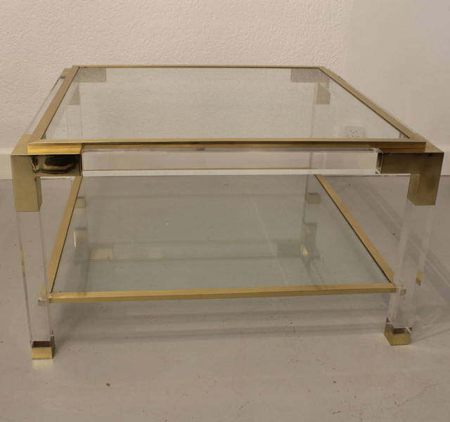 Vintage Lucite Brass And Glass Coffee Table Vinterior