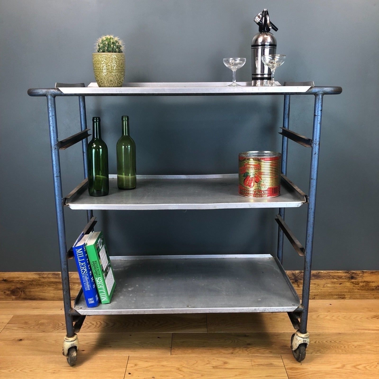 cheap for discount 3257c 805ca Upcycled Old Industrial Prison Trolley Sideboard Drinks Vintage Shelving  Unit