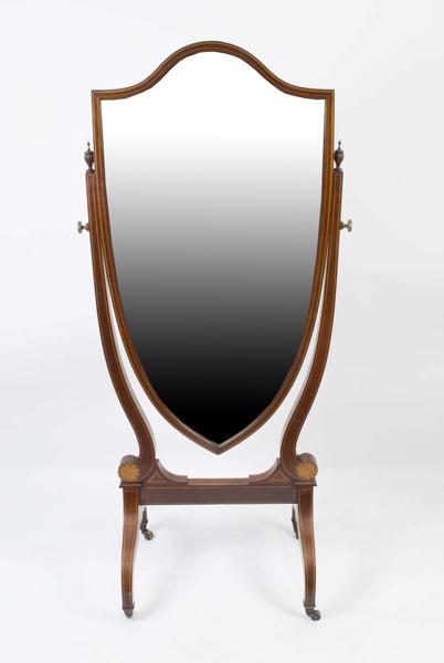 Antique Edwardian Inlaid Cheval Mirror Shield C.1900 photo 1