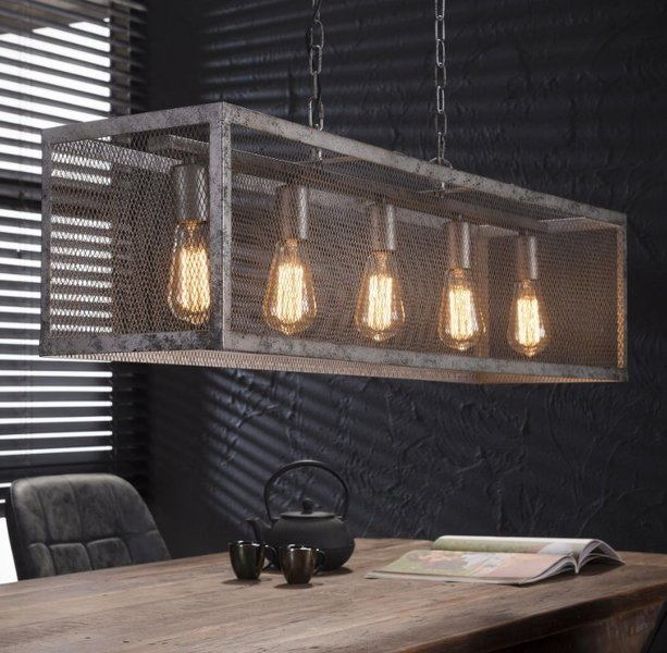 Large Rectangular Metal Wire Mesh Vintage Industrial Ceiling Light   Pendant Light. One Metre Width. Old Silvery Finish