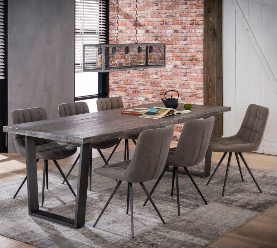 Office Kitchen Tables: Large Industrial Style Steel Legged Dining Table Office