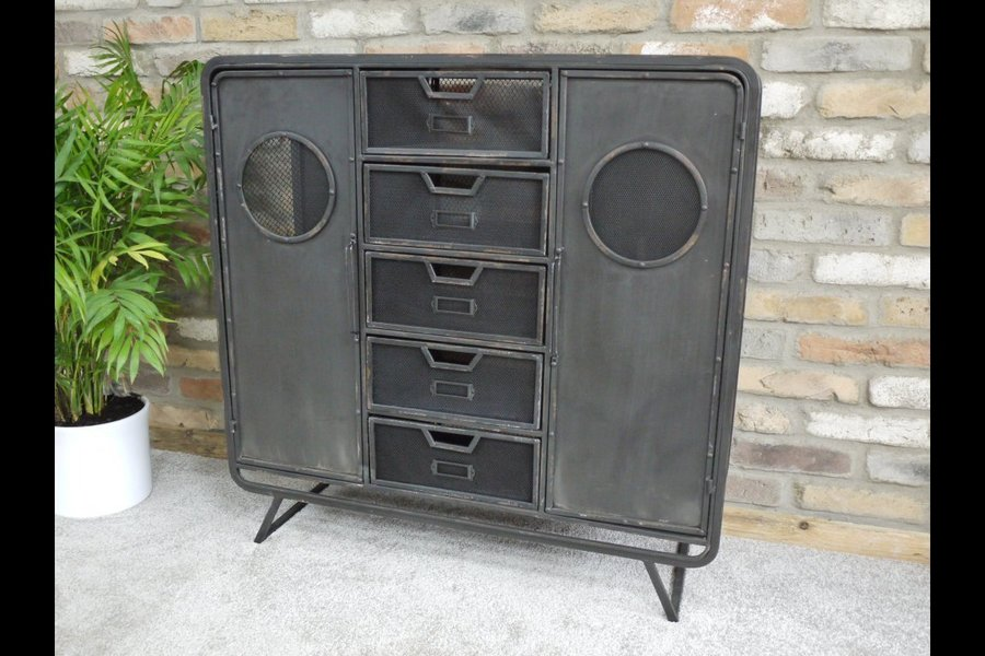 Industrial Metal Storage Cabinet Sideboard Storage Unit Metal
