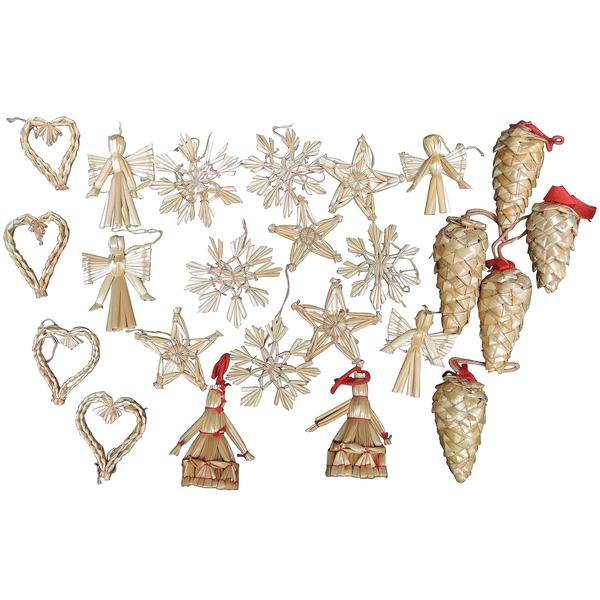Collection Of 27 Vintage Swedish Straw Christmas Tree Ornaments