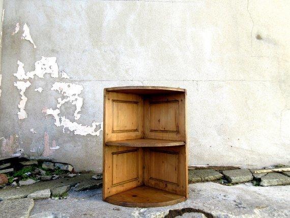 Vintage Wooden Corner Shelves  Rustic Home Decor