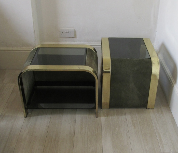 Pair Italian Brass Side Tables Willy Rizzo Era