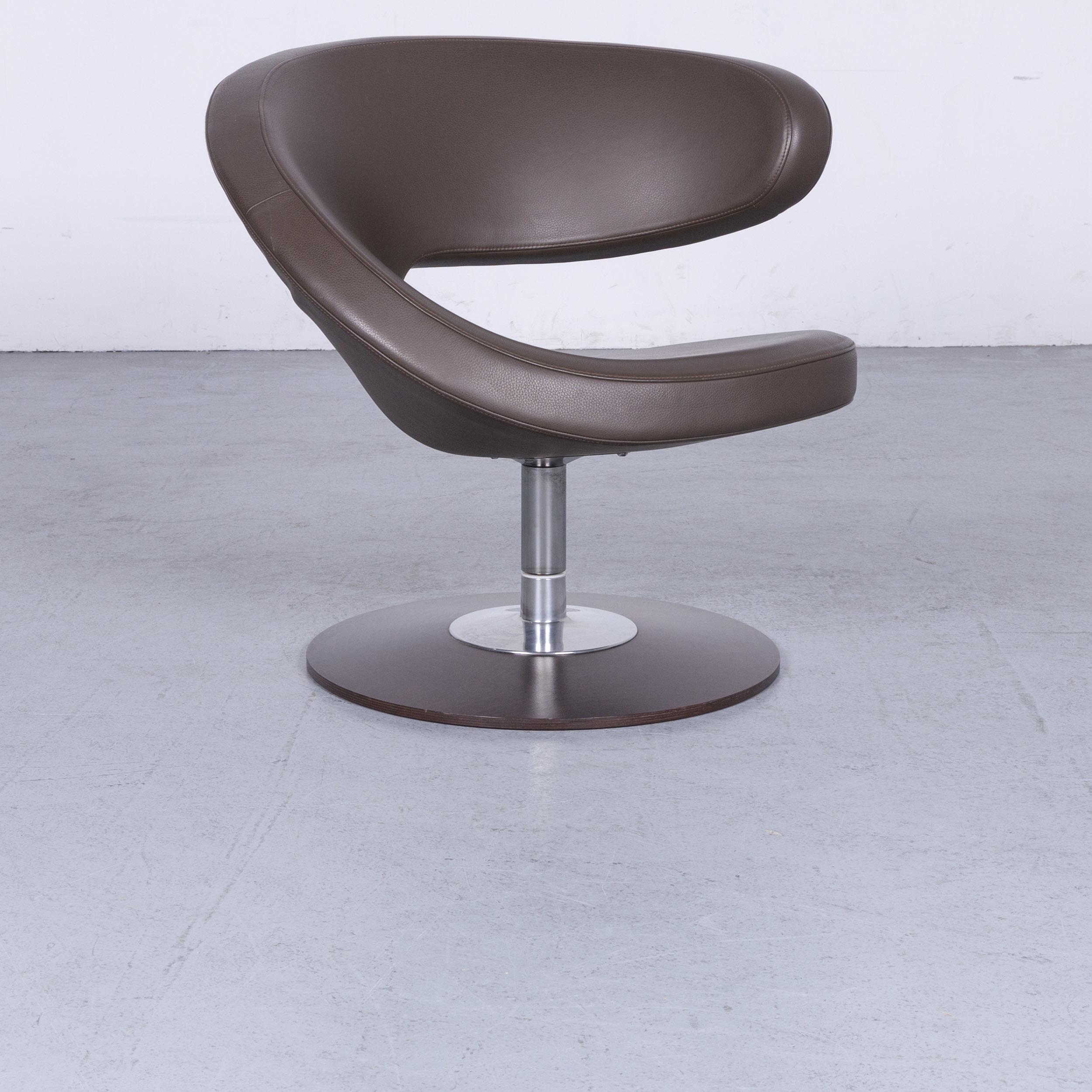 Poltrona Varier Peel.Varier Peel Designer Leather Armchair Brown Genuine Leather Chair 6580