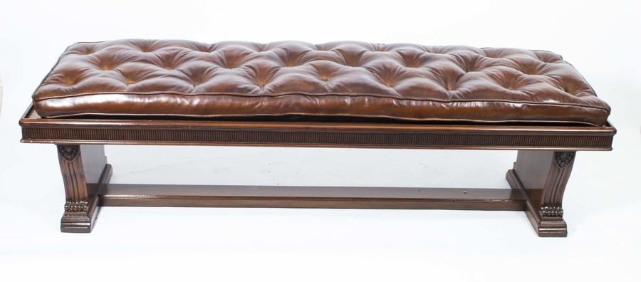 Antique 6ft Leather Banquette Stool William Iv C1835