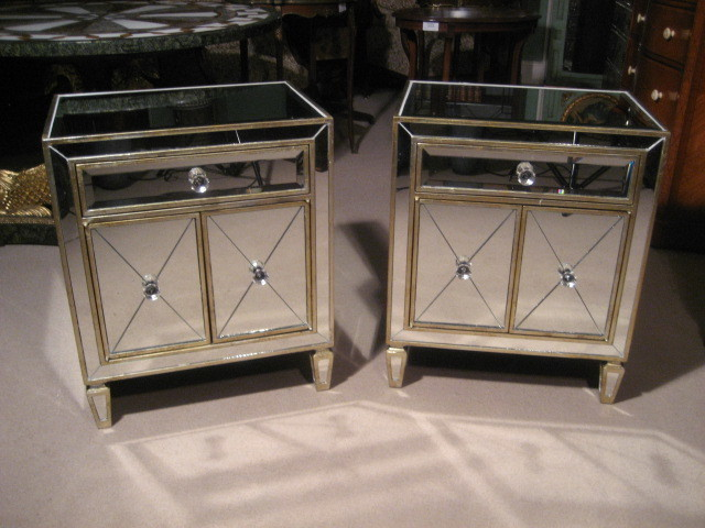 Pair Of Art Deco Style Mirrored Bedside Tables Cabinets photo 1