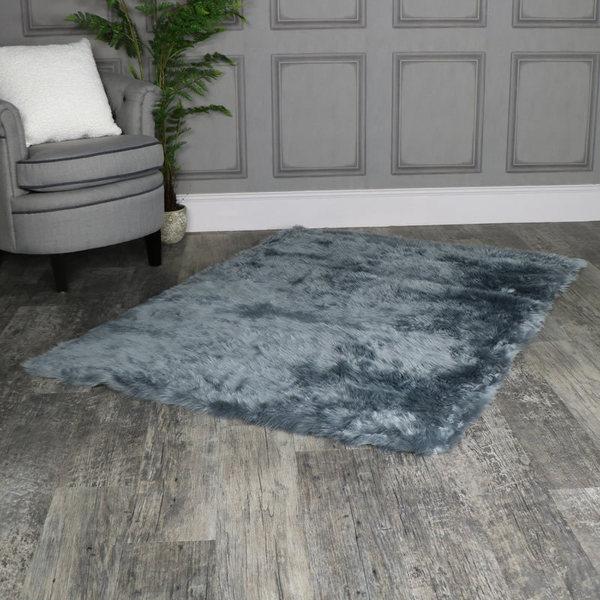 Large Grey Faux Fur Rug Viveinmersion