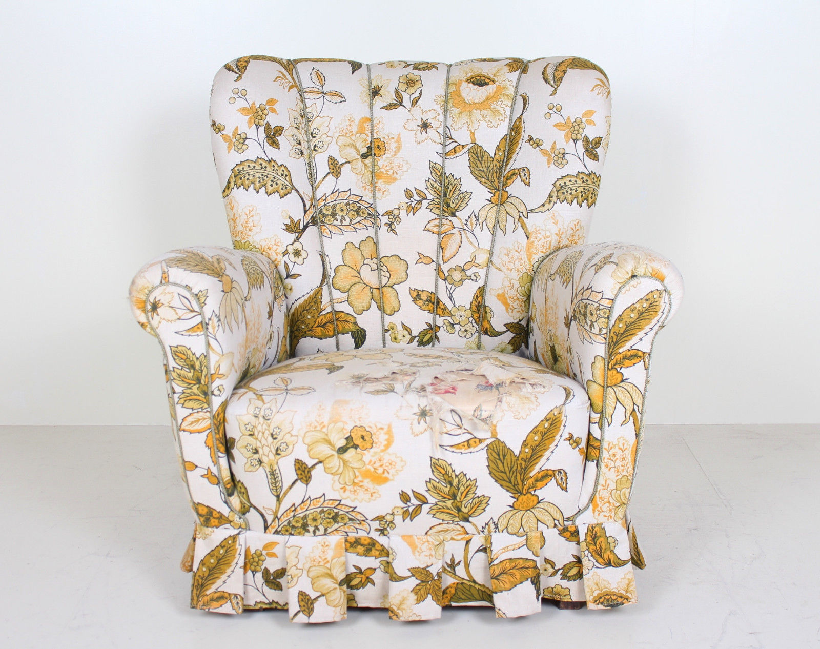 Vintage Danish Lounge Chair Armchair Floral Wingback