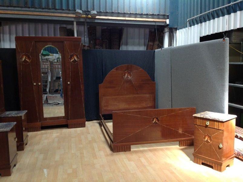 Outstanding Art Deco Bedroom Suite Set Bed Wardrobe Dressing Table Bedside Vinterior