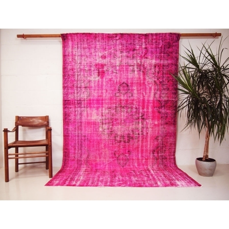Turkish Rug Over Dyed With Cerise Pink