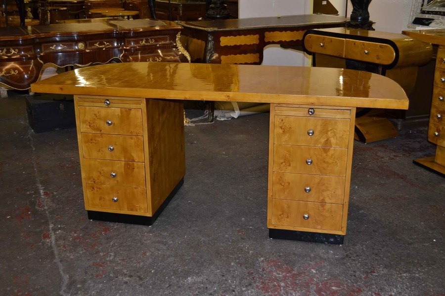 Lovely Art Deco Birdseye Maple Small Desk Writing Table