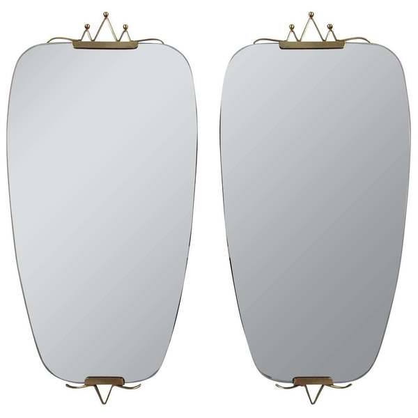 Pair Of 1950s Mid Century Italian Brass Wall Mirrors