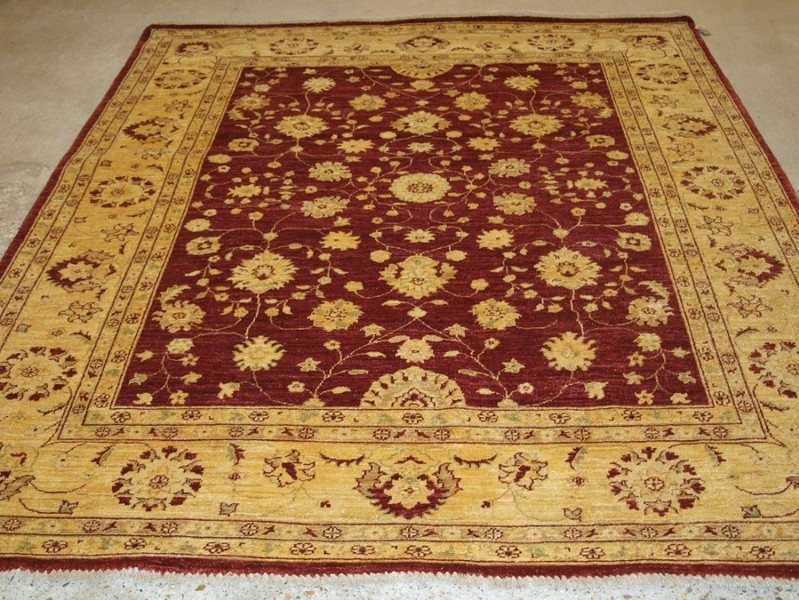 Burgundy Field With Ivory Gold Border