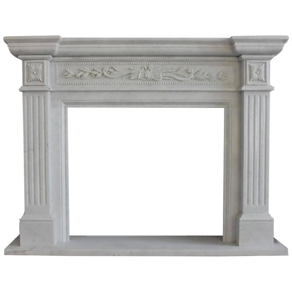Fine Neoclassical Style Carved White Marble Fire Surround