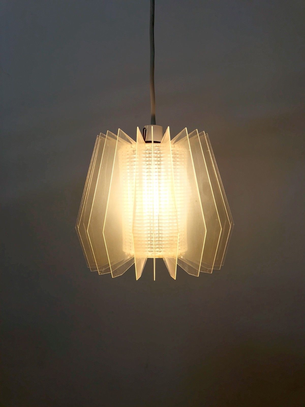60s 70s Rare Stylish Funky Vintage Retro Perspex Ceiling Pendant Lampshade
