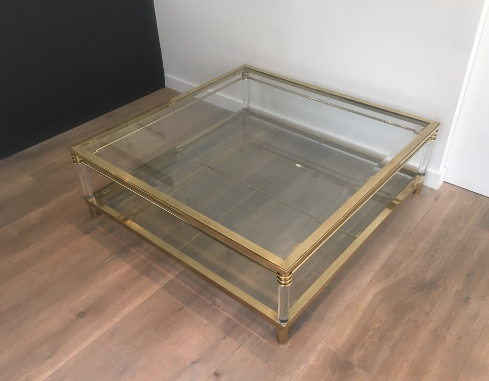 Large Brass And Lucite Square Coffee Table Vinterior