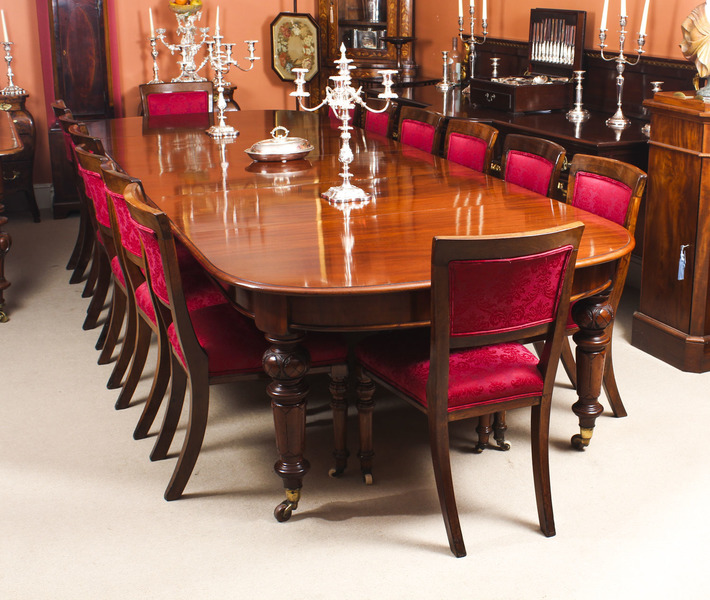 Antique 12ft Victorian D End Mahogany Dining Table 14 Chairs 19th C Vinterior