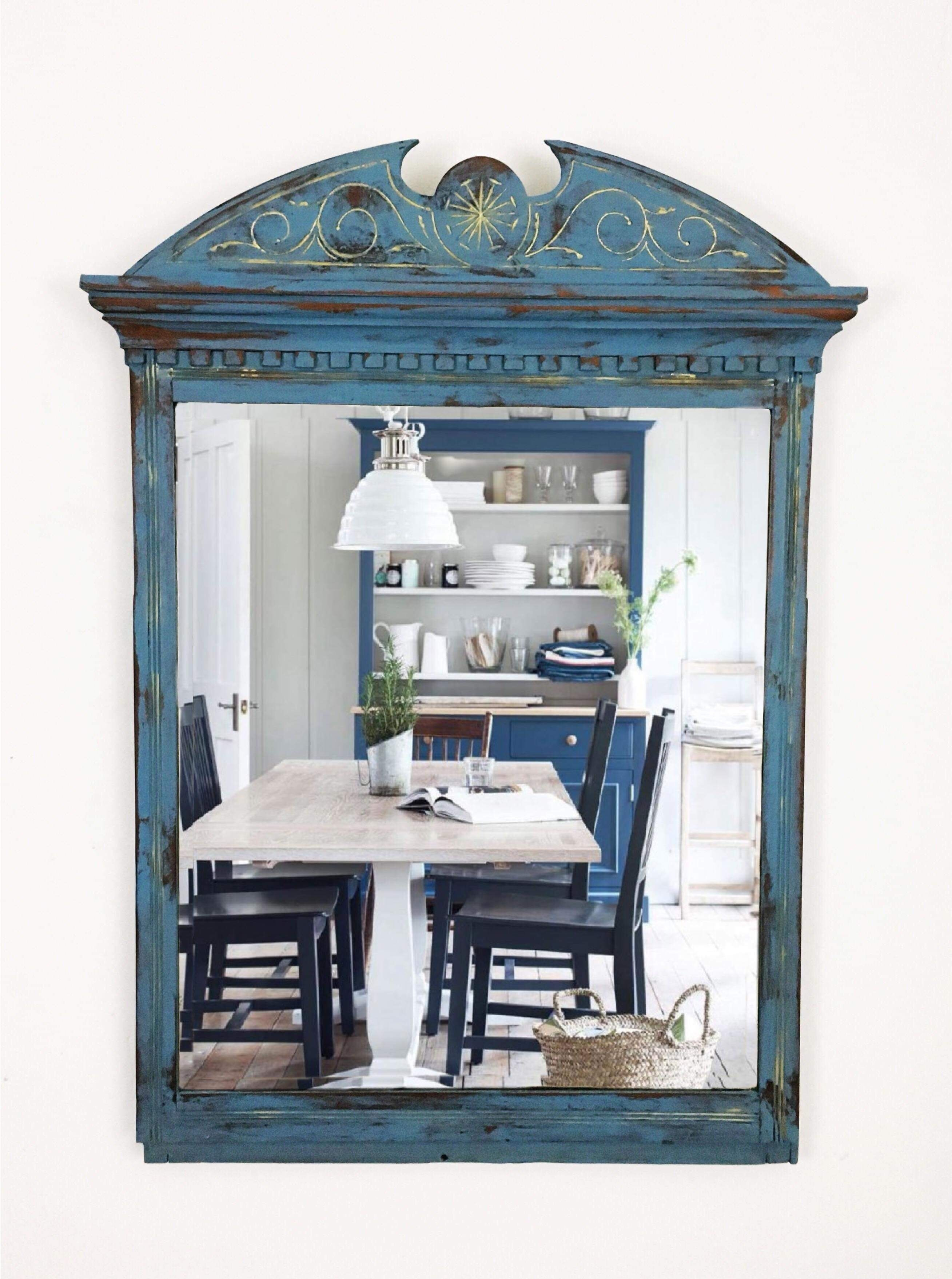Large Vintage Blue Wall Mirror Mantel Mirror Bedroom Mirror Bathroom Mirror Entryway Mirror Living Room Furniture Upcycled Furniture Vinterior