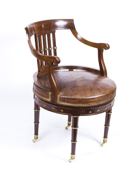 Antique French Empire Revolving Desk Chair C.1870