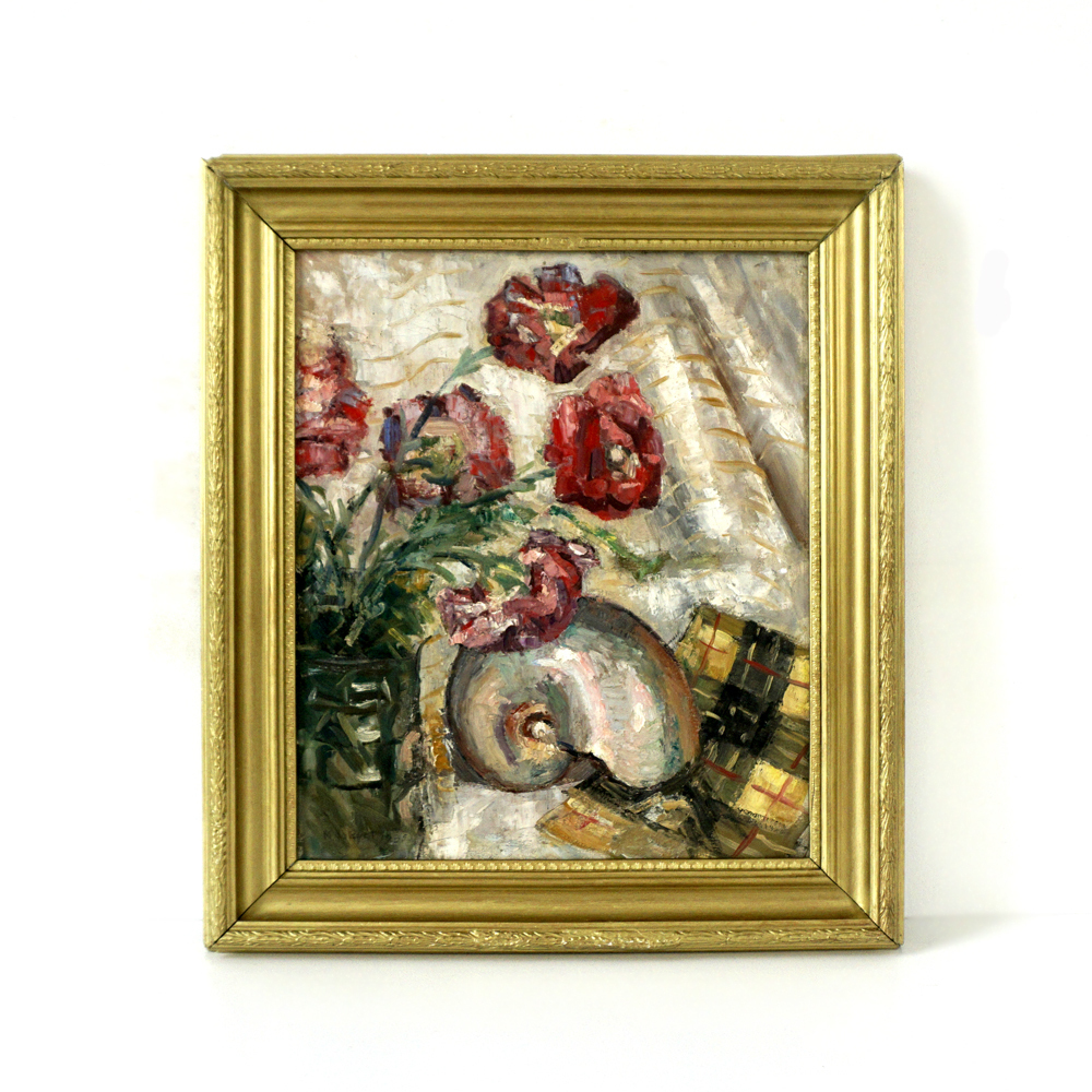 1930 S Art Deco Oil Painting Still Life With Nautilus Shell Red Carnation Flowers