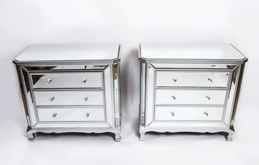 Fabulous Pair Art Deco Style Mirrored Chest Of Drawers photo 1