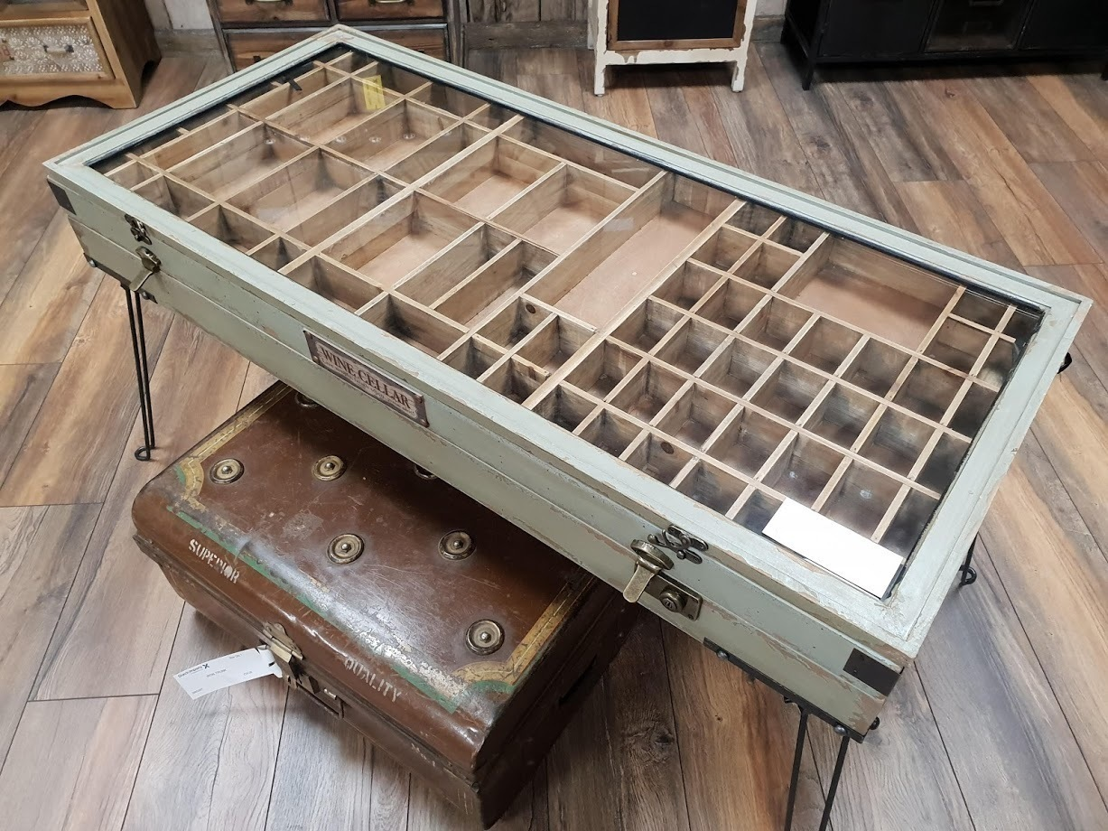 Unique Vintage Style Display Cabinet Coffee Table With Storage
