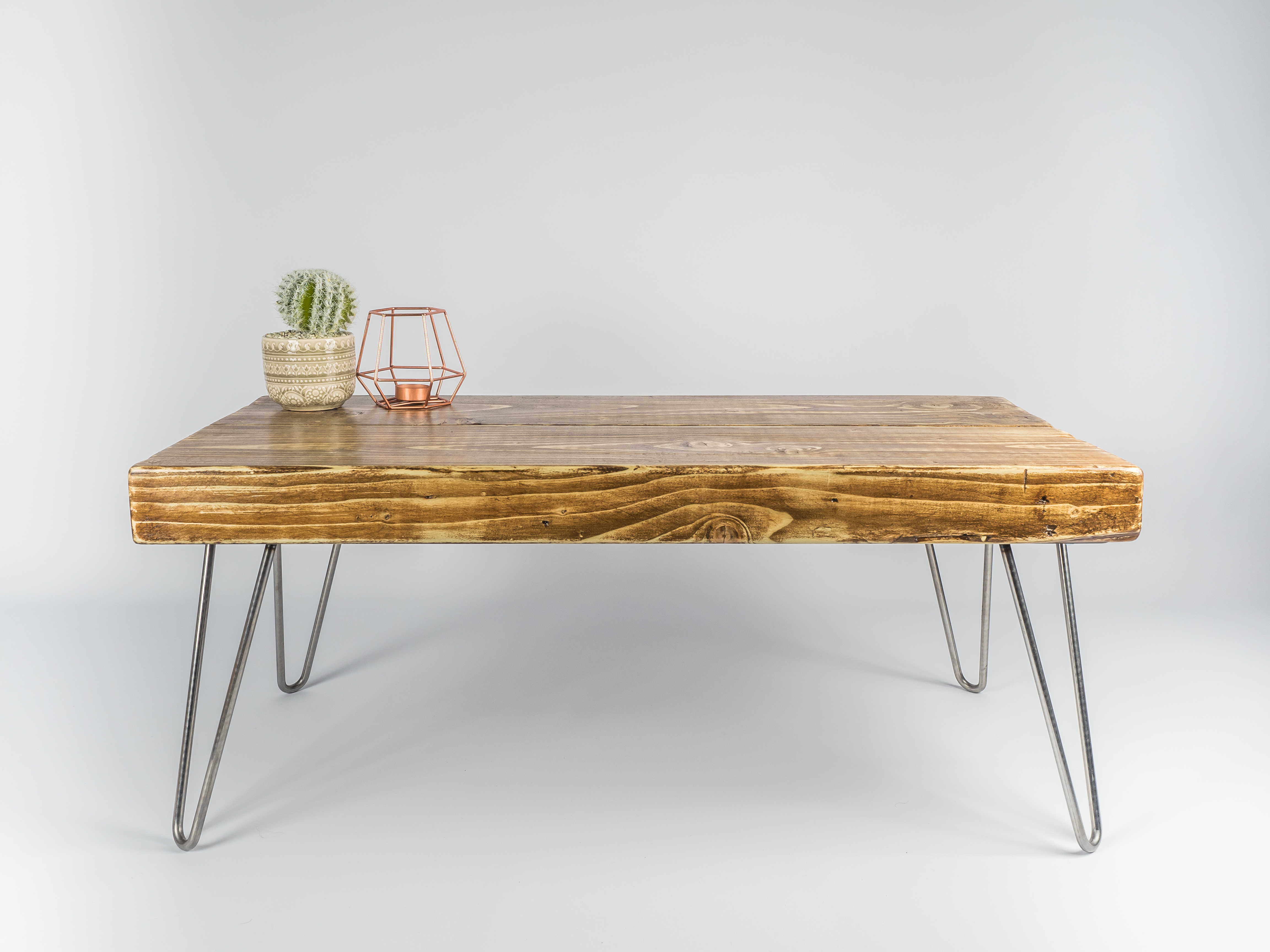 Remarkable Handmade Solid Wood Coffee Table With Bare Steel Hairpin Legs Lamtechconsult Wood Chair Design Ideas Lamtechconsultcom