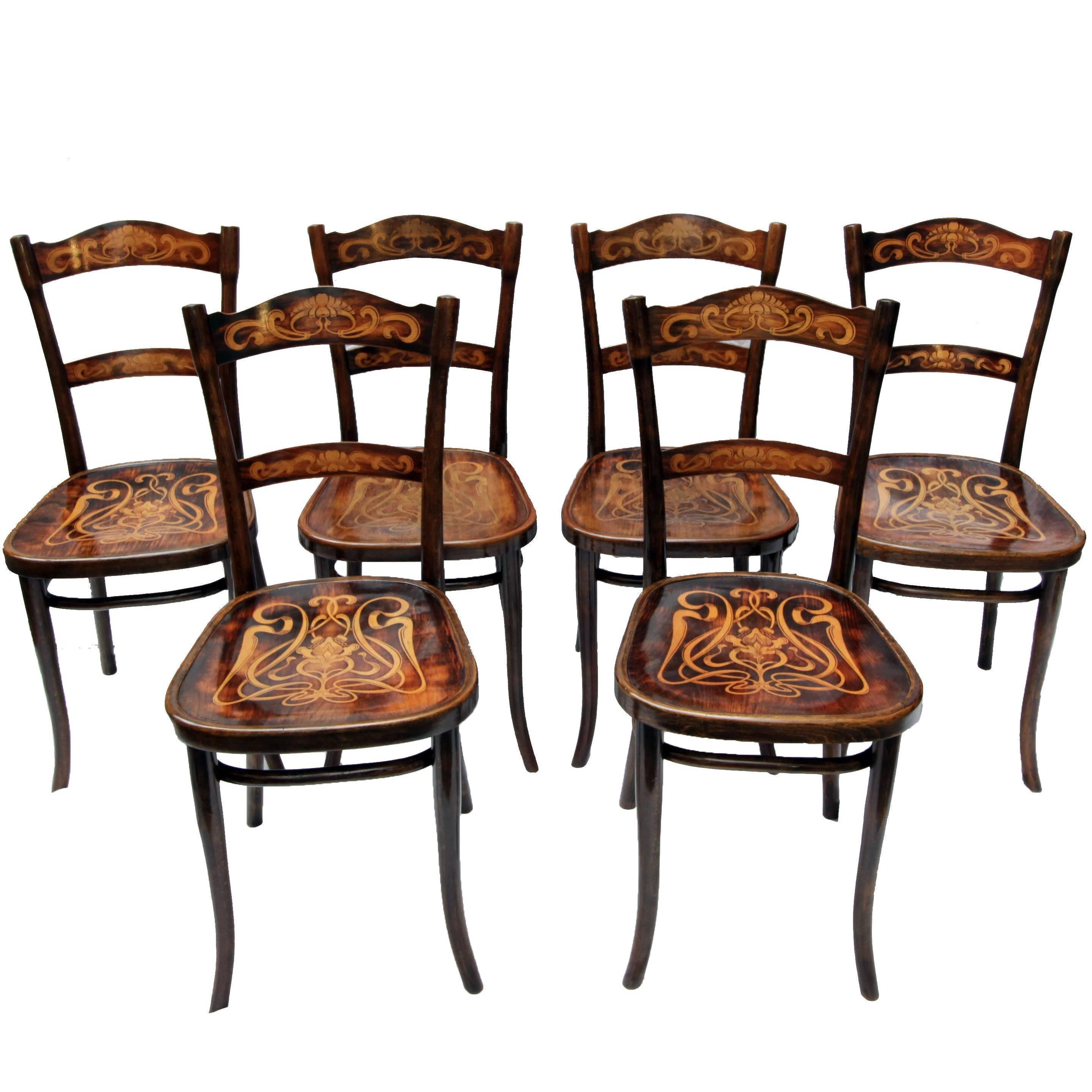 Art Nouveau Decorated Bentwood Dining Chairs From Thonet Set Of Six