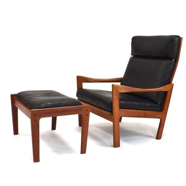 Pleasant Teak And Leather Chair Ottoman Set By Illum Wikkelso For Niels Eilersen 1960S Uwap Interior Chair Design Uwaporg