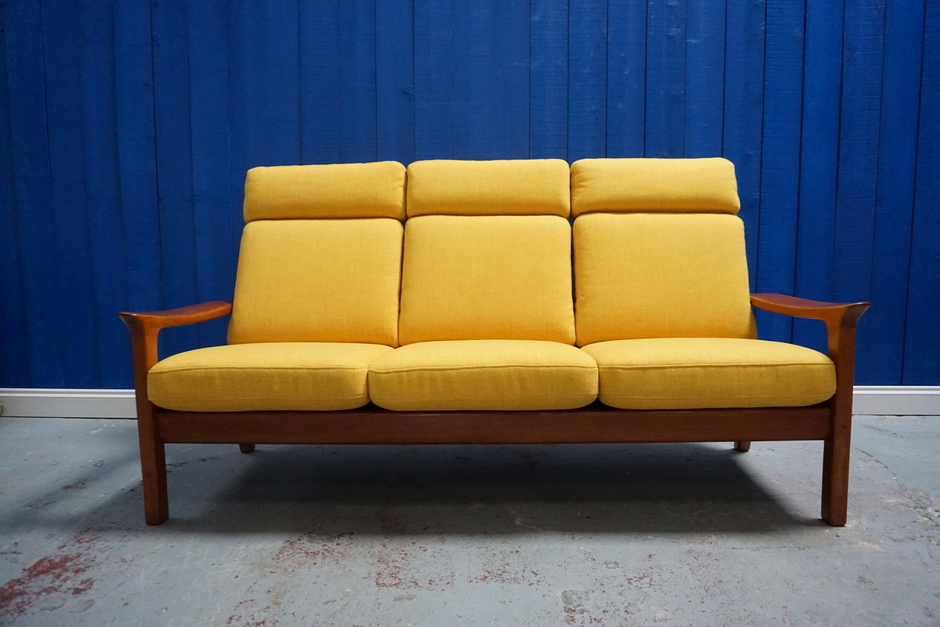 Three Seat Teak Wood Sofa In Yellow By Juul Kristensen And Glostrup