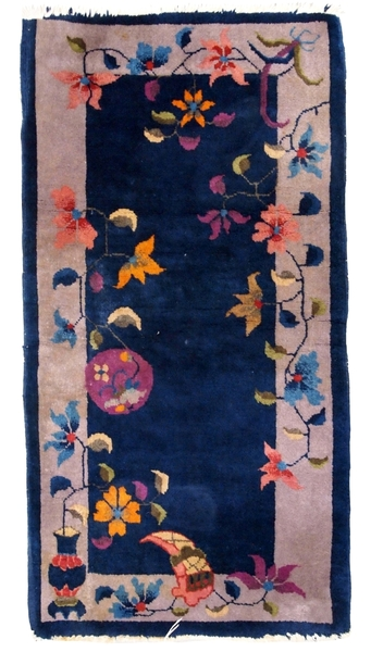 Handmade Antique Art Deco Chinese Rug 2'x 4.1' ( 61cm X 125cm ) 1920s