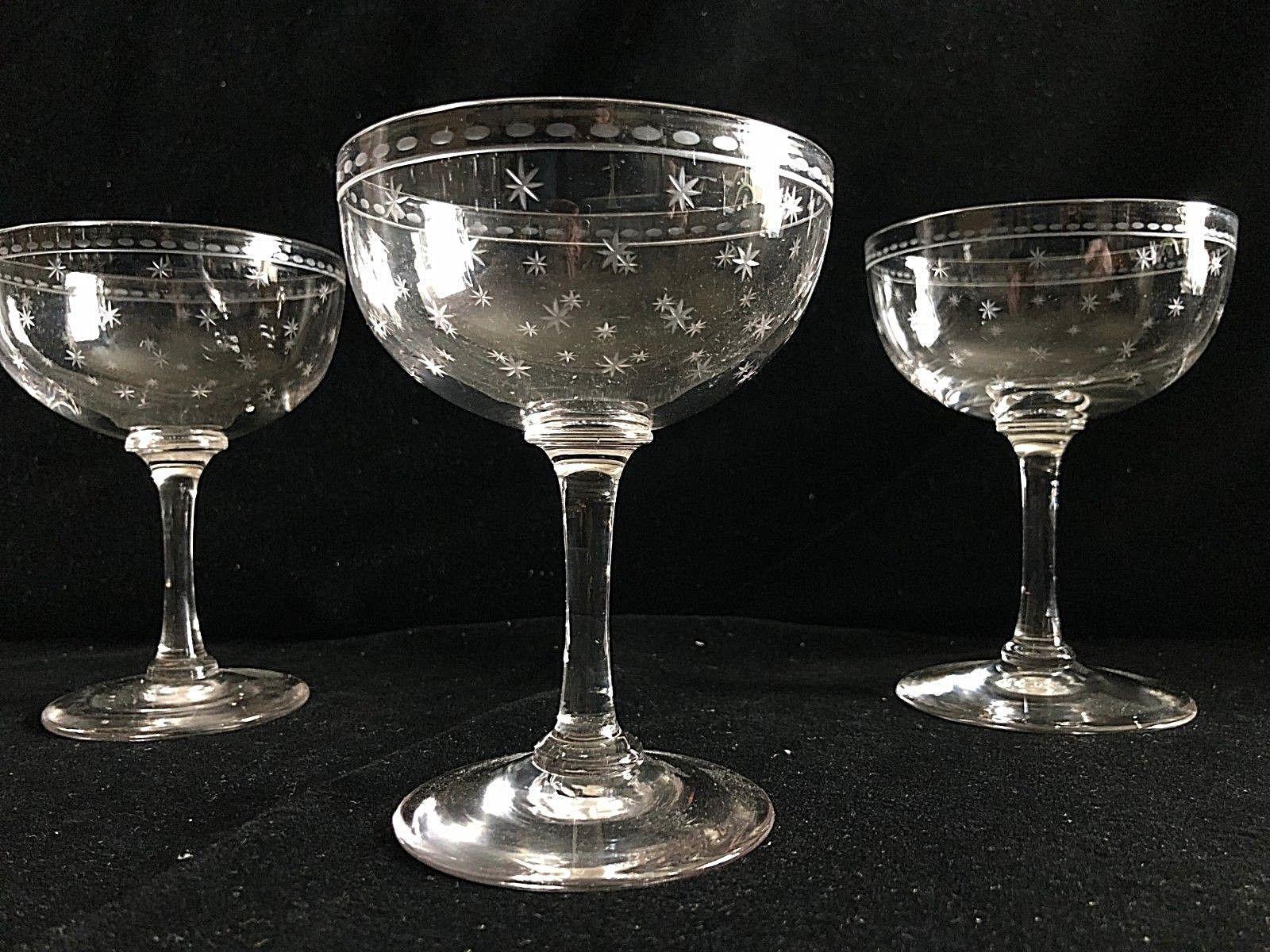 Fine Antique Edwardian Star Etched Crystal Champagne Saucers Glasses 4 5 Vinterior